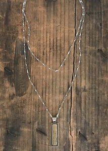 Detailed double chain silver necklace with antique Tibetan bar pendant handmade by Rope the Moon Jewelry
