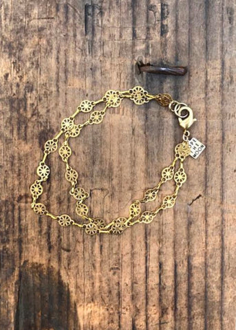 delicate brass double chain bracelet by Rope the Moon Jewelry