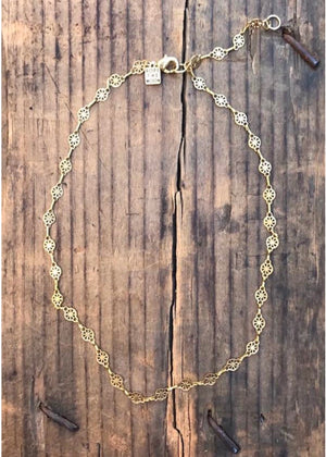 delicate brass choker necklace by Rope the Moon Jewelry