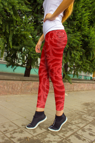 Red Rose abstract leggings, Capris and Shorts