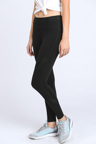 Cross Mesh Panels Pocket Full Leggings