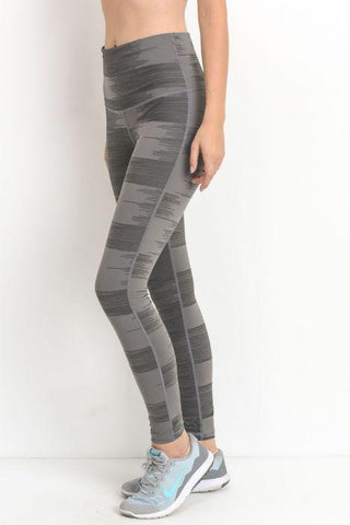 Drawn Lines Print Highwaist Pocket Leggings