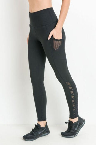 High-waist Hybrid Mesh & Lattice Straps Full Pocket Leggings