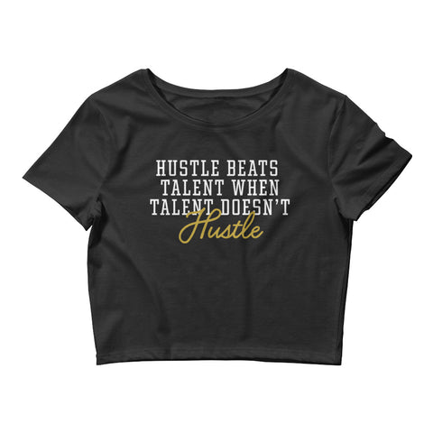 HUSTLE WINS Black Women's Crop Tee