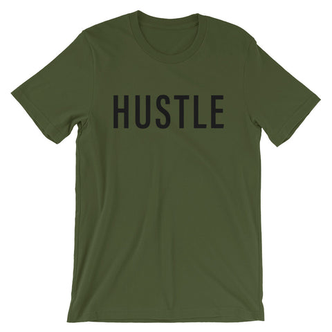 HUSTLE Short-Sleeve Unisex T-Shirt WITH Back Slogan-4 Color Options