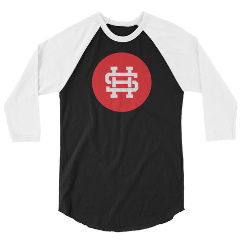 HS LOGO RED 3/4 sleeve raglan shirt-5 Color Options - Hustle Standard Co.