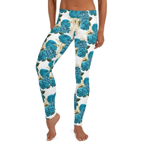 Blue Floral Leggings