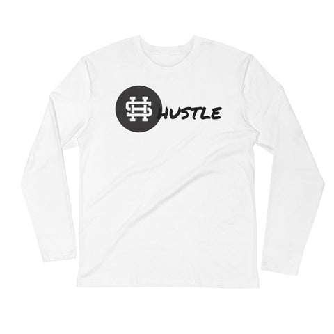HUSTLE PREMIUM WHITE Long Sleeve Fitted Crew
