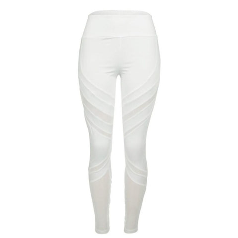 Mid Waist White Mesh Leggings
