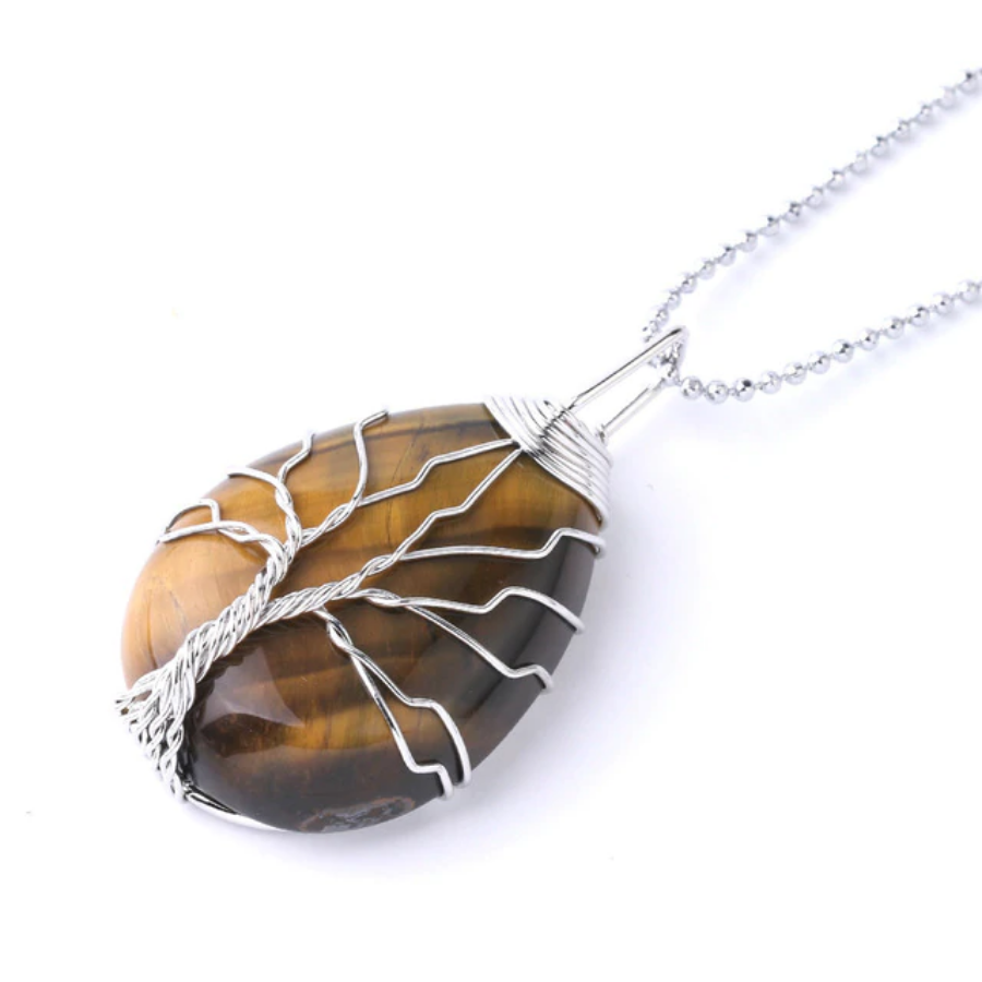 Tiger Eye Tree of Life Necklace - Tiger Eye Necklace - Giveably