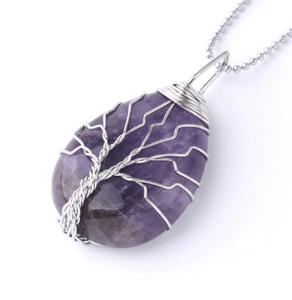 Amethyst Tree of Life Wire Necklace