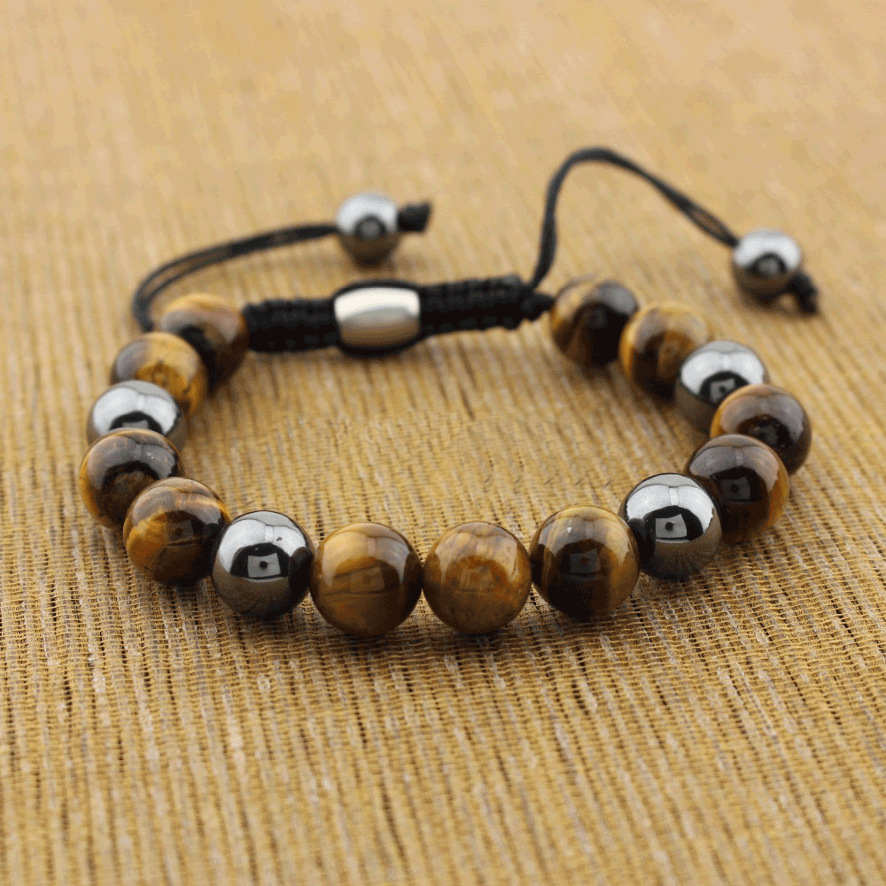 Heart Warming Bracelet - Tiger Eye and Obsidian Bracelet - Giveably