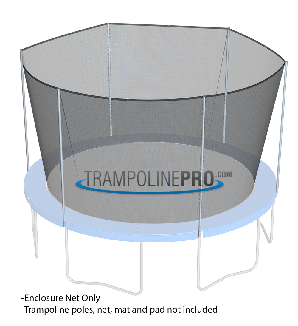 Trampoline Pro 14ft ROUND Frame Net for 6 Straight Poles (Straps)**NET ONLY**