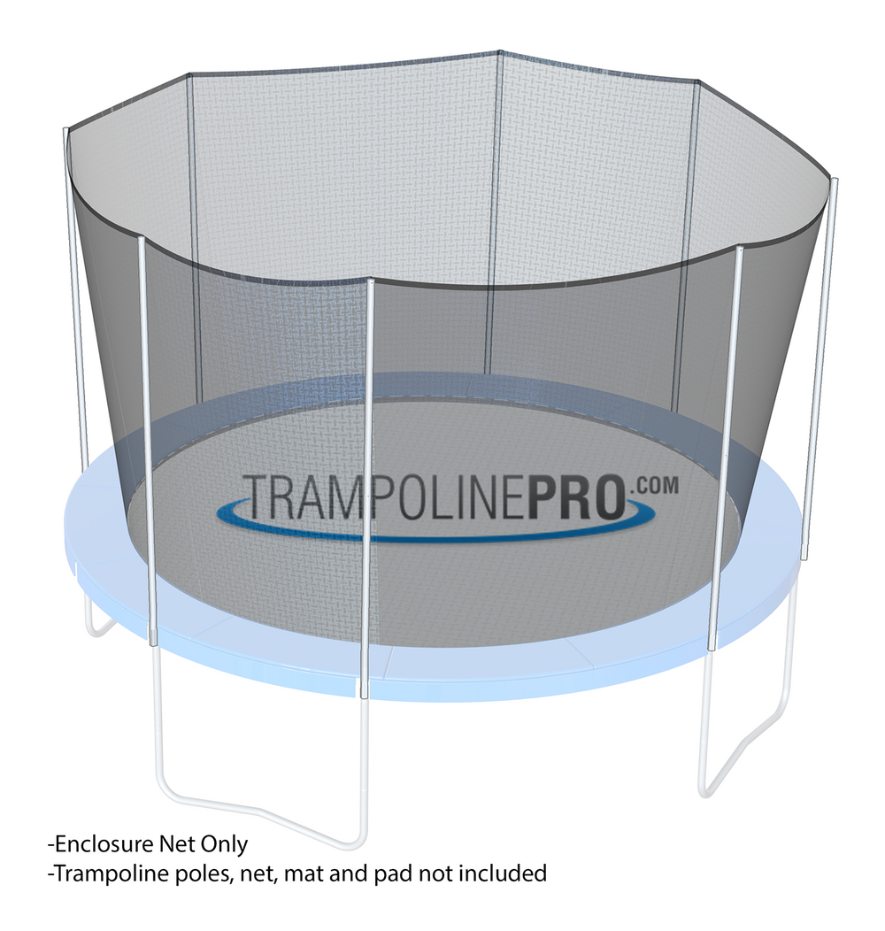 Trampoline Pro 14ft ROUND Frame Net For 8 Angled Poles (Straps) **NET ONLY**