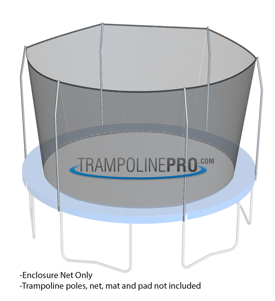 Trampoline Pro 14ft ROUND Frame Net for 6 Angled Poles (Straps)**NET ONLY**