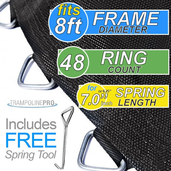 "Trampoline Mat 8ft ROUND Frame (75"" Mat & 48 Rings FOR 6.5"" or 7"" Springs) **MAT ONLY**"