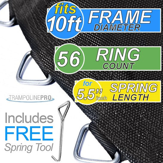 "Trampoline Mat 10ft ROUND Frame (98"" Mat & 56 Rings FOR 5.5"" Springs) **MAT ONLY**"
