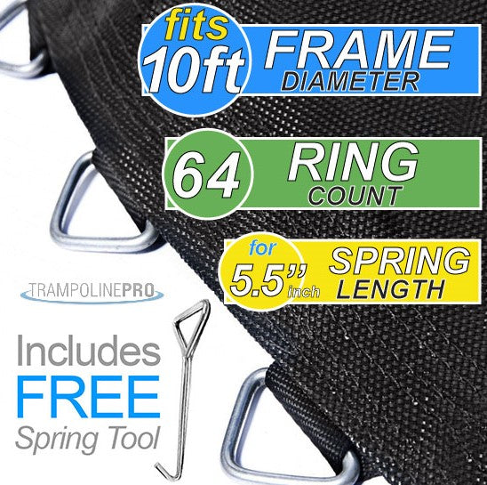 "Trampoline Mat 10ft ROUND Frame (103"" Mat with 64 Rings FOR 5.5"" Springs) **MAT ONLY**"