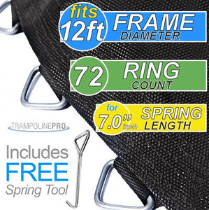 "120"" Mat with 72 Rings FOR 12ft Round Frame and 7"" Springs"