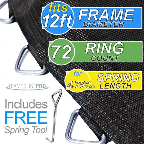 "Trampoline Mat 12ft ROUND Frame (129"" Mat & 72 Rings FOR 4.75"" Springs) **MAT ONLY**"