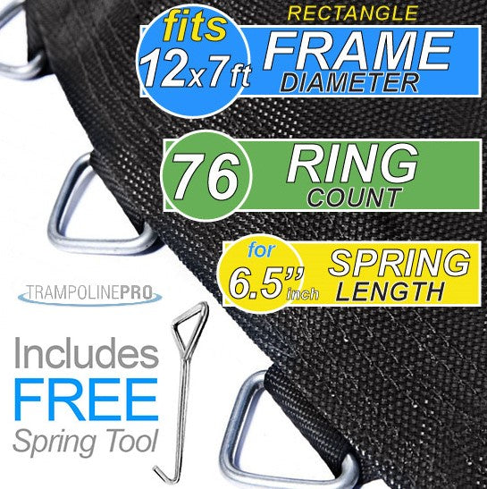 "Trampoline Mat 12ft X 7ft RECTANGLE Frame & 72 Rings and 6.5"" Springs **MAT ONLY**"