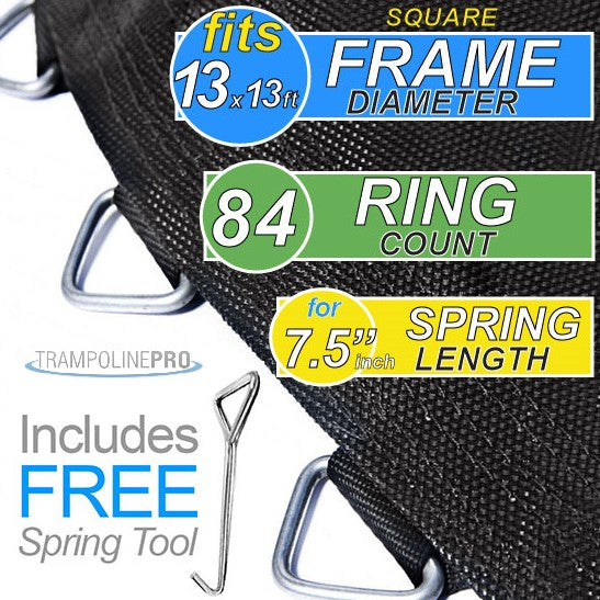 "Trampoline Mat 13ftx13ft SQUARE Frame (132"" Mat & 84 Rings FOR 7.5"" Springs) **MAT ONLY**"