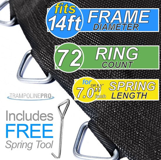"Trampoline Mat 14ft ROUND Frame (147"" Mat & 72 Rings FOR 6.5"" or 7"" Springs) **MAT ONLY**"