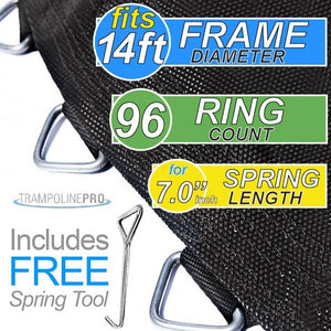 "147"" Mat with 96 Rings FOR 14ft Round Frame and 7.0"" Springs"