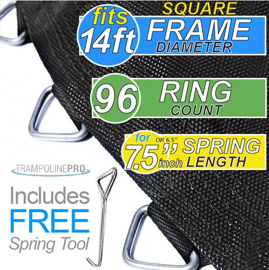 SQUARE Trampoline Mat 14x14ft Frame (12x12' Mat & 96 Rings FOR 7.5