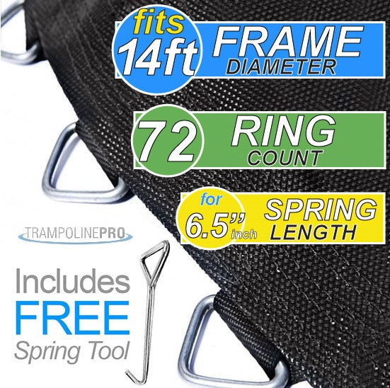 "Trampoline Mat 14ft ROUND Frame (146"" Mat & 72 Rings FOR 6.5"" Springs) **MAT ONLY**"