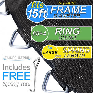 "13ft SQUARE Mat with 88 V & 4 D Rings FOR 15ft Frame and 7.5"" Spring"