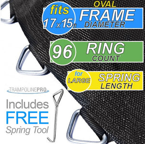 "Trampoline Mat 17ftX15ft OVAL Frame (187 Oval"" Mat & 96 Rings FOR 7"" Springs) **MAT ONLY**"
