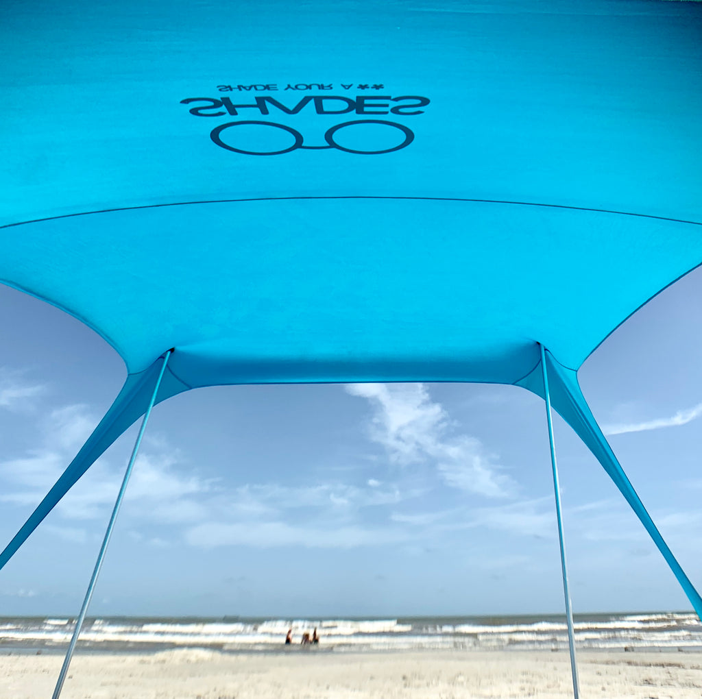 Shades Beach Shelter | Sun Shade | Lightweight & Durable | Easy Setup | No Rope Needed | Built-in Sandbags (Hawaiian Blue )
