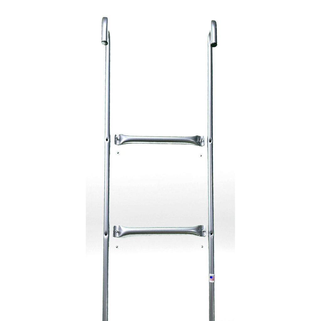 Made in USA 2-Step Trampoline Ladder | Silver | Durable Powder-Coated Steel Design | Easy 2 Minute Assembly | Lifetime Parts Warranty