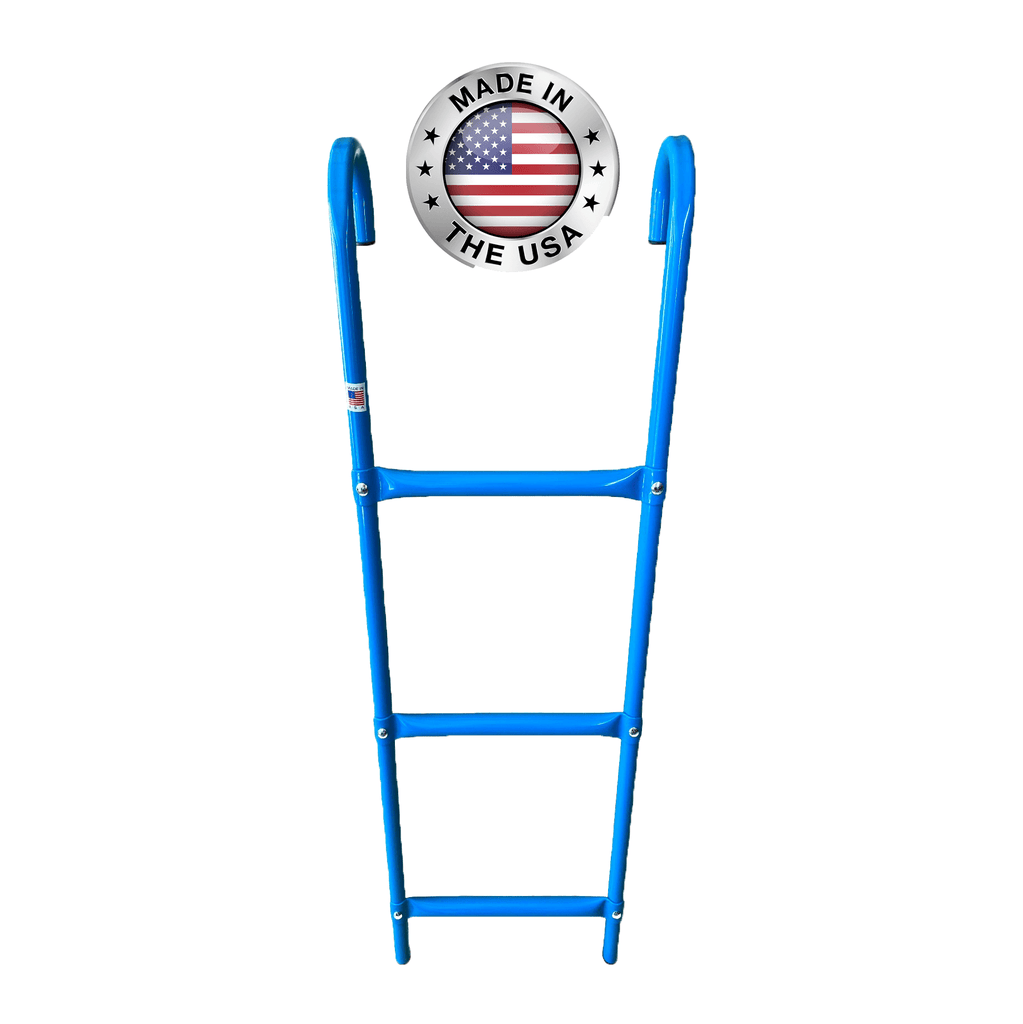Made in USA 3-Step Trampoline Ladder | Blue | Durable Powder-Coated Steel Design | Easy 2 Minute Assembly | Lifetime Parts Warranty