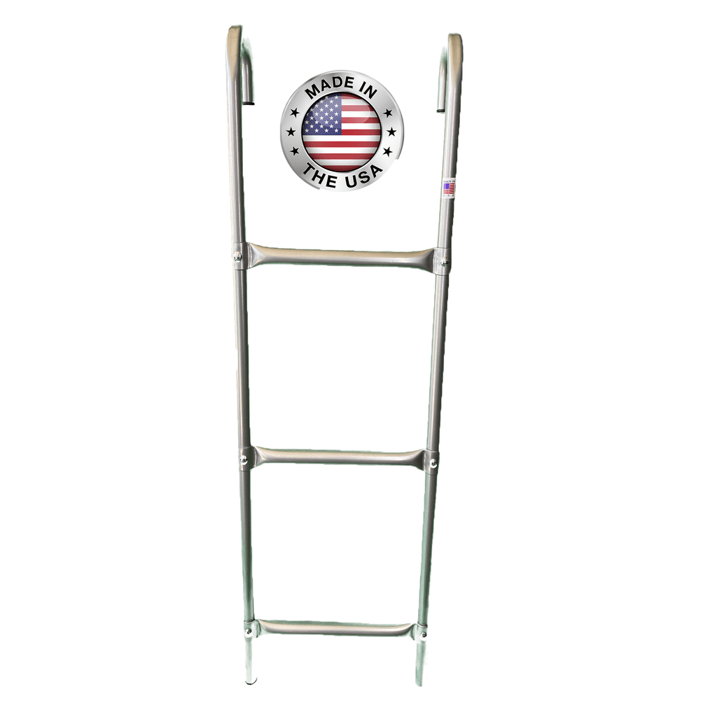 Made in USA 3-Step Trampoline Ladder | Silver | Durable Powder-Coated Steel Design | Easy 2 Minute Assembly | Lifetime Parts Warranty