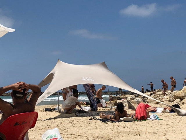 Shades Beach Shelter | Sun Shade | Lightweight & Durable | Easy Setup | No Rope Needed | Built-in Sandbags (Sand Color)