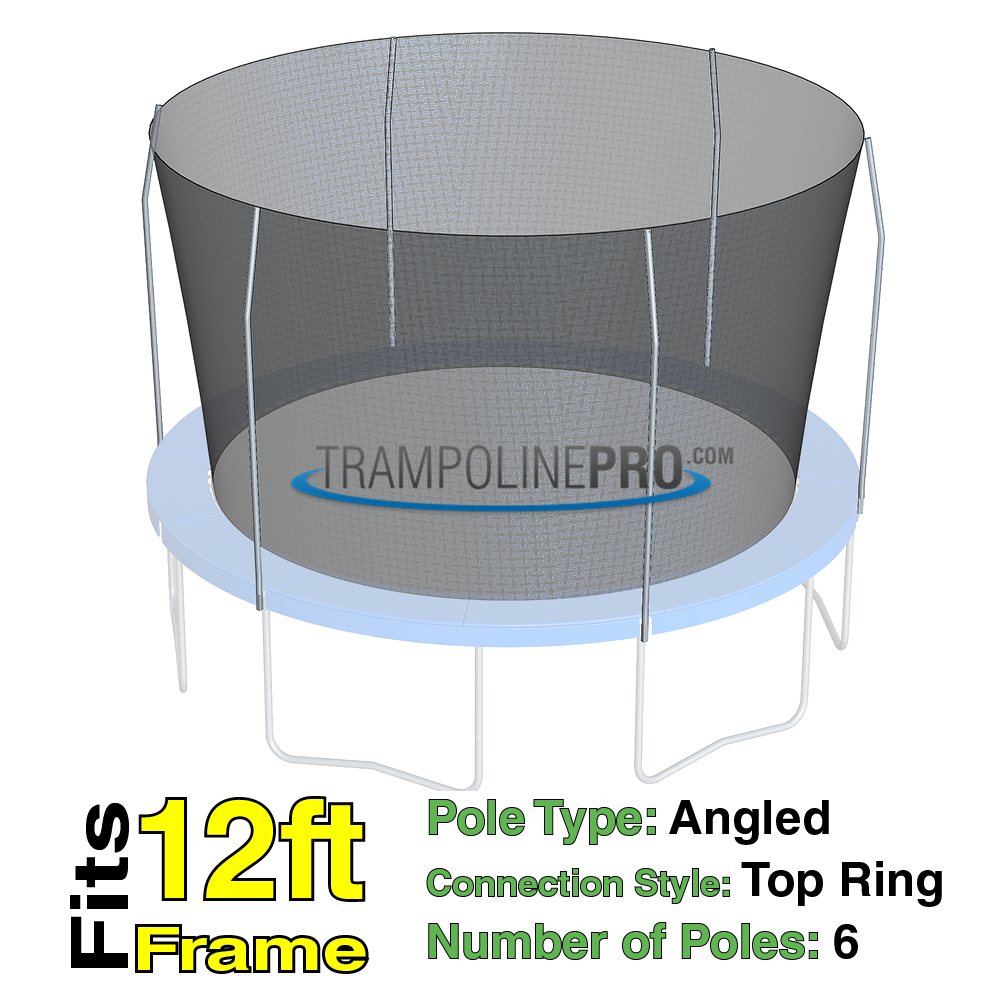 Trampoline Pro 12ft ROUND Frame Net Top Ring 6 Poles **NET ONLY**
