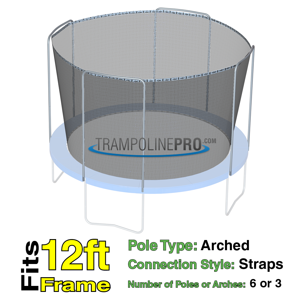 Trampoline Pro 12ft ROUND Frame Net for 3 Arch Poles (Straps)**NET ONLY**