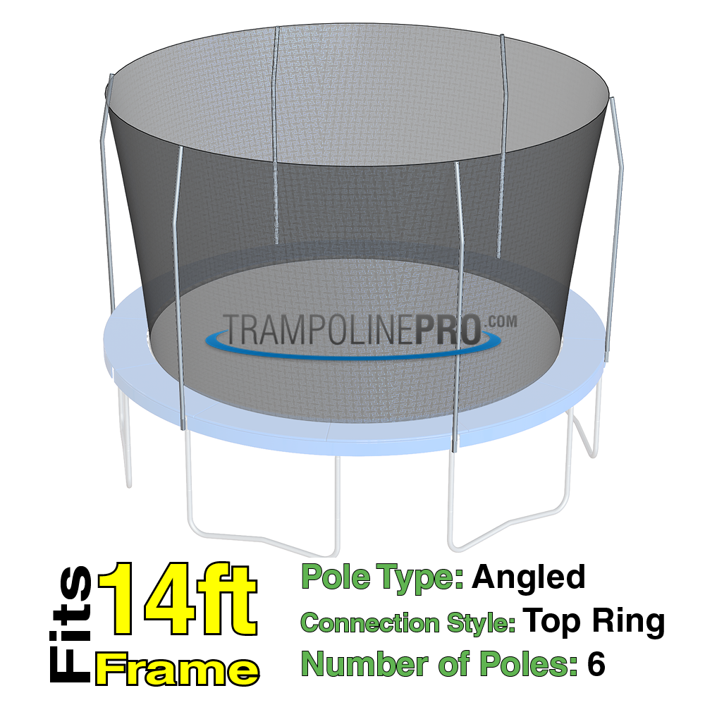 Trampoline Pro 14ft ROUND Frame Net For Top Ring 6 Angled Poles **NET ONLY**