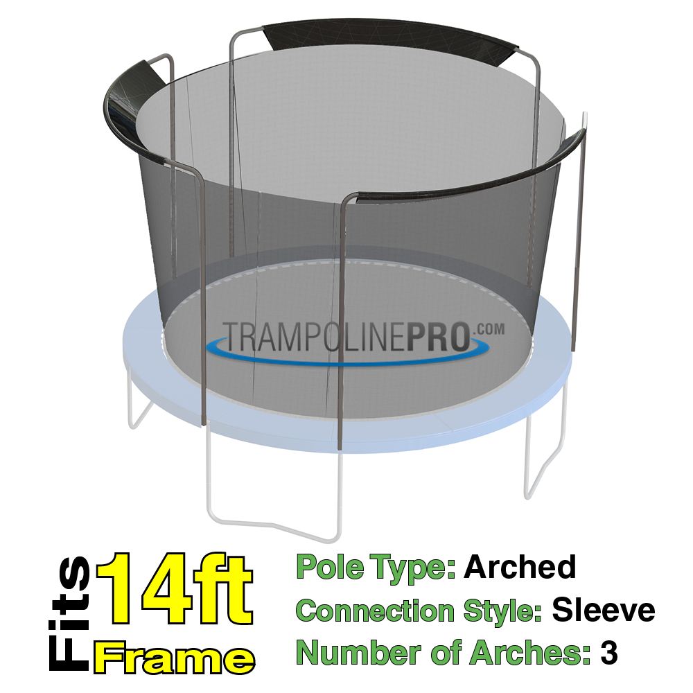 Trampoline Pro 14ft ROUND Frame Net 3 Arch Poles (Sleeves)**NET ONLY**