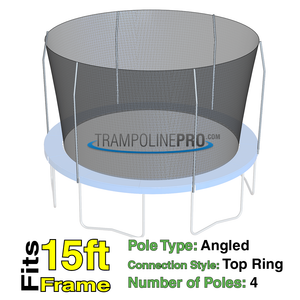 Trampoline Pro 15ft ROUND Frame Net For 4 Top Ring Poles **NET ONLY**