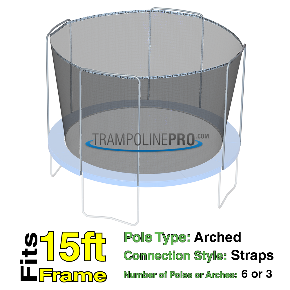 Trampoline Pro 15ft ROUND Frame Net 3 Arch Poles (Straps)**NET ONLY**