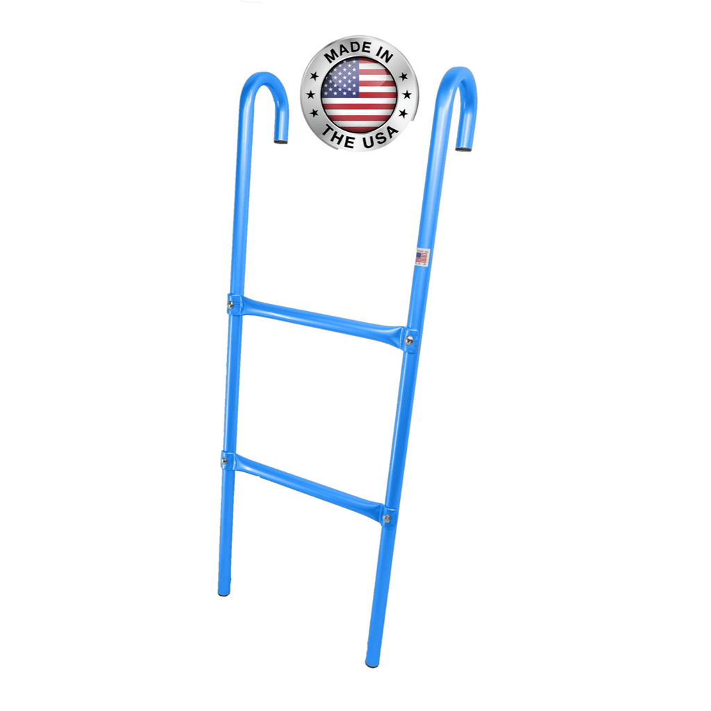Made in USA 2-Step Trampoline Ladder | Blue | Durable Powder-Coated Steel Design | Easy 2 Minute Assembly | Lifetime Parts Warranty