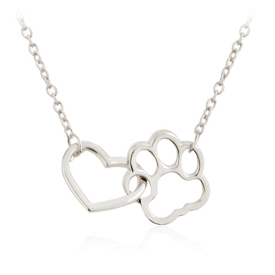 Linked Heart and Paw Claw Pendant Necklaces Silver - Doggie Jewels
