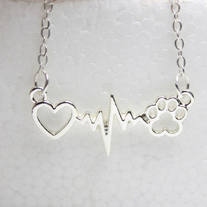 Silver Plated Dogs Paws and Heartbeat Necklace - Doggie Jewels