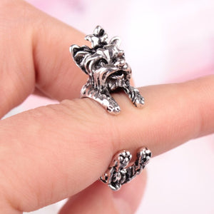Antique Silver Yorkie Terrier Rings - Doggie Jewels