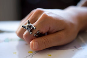Antique Silver French Bulldog Ring - Doggie Jewels