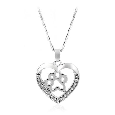 Silver Puppy Paw Print Heart Shape Pendant Necklace Rhinestone - Doggie Jewels