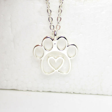 Silver Plated Twisted Heart Paw Necklace - Doggie Jewels